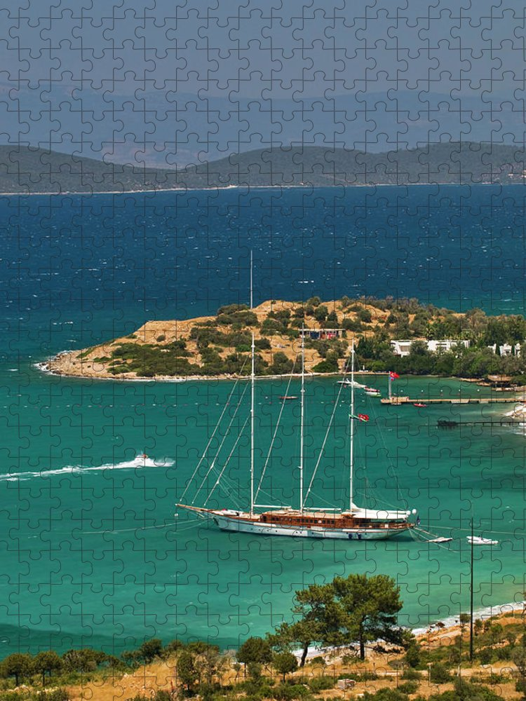 Sailboat Puzzle featuring the photograph Gulet Traditional Turkish Wooden by Izzet Keribar