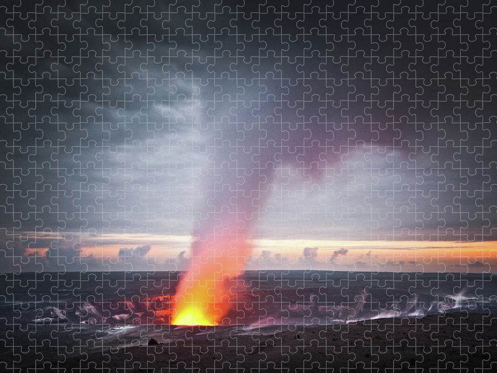 Hawaii Volcanoes National Park Puzzle featuring the photograph Halemaumau Crater by Darren Woolridge Photography - Www.darrenwoolridge.com
