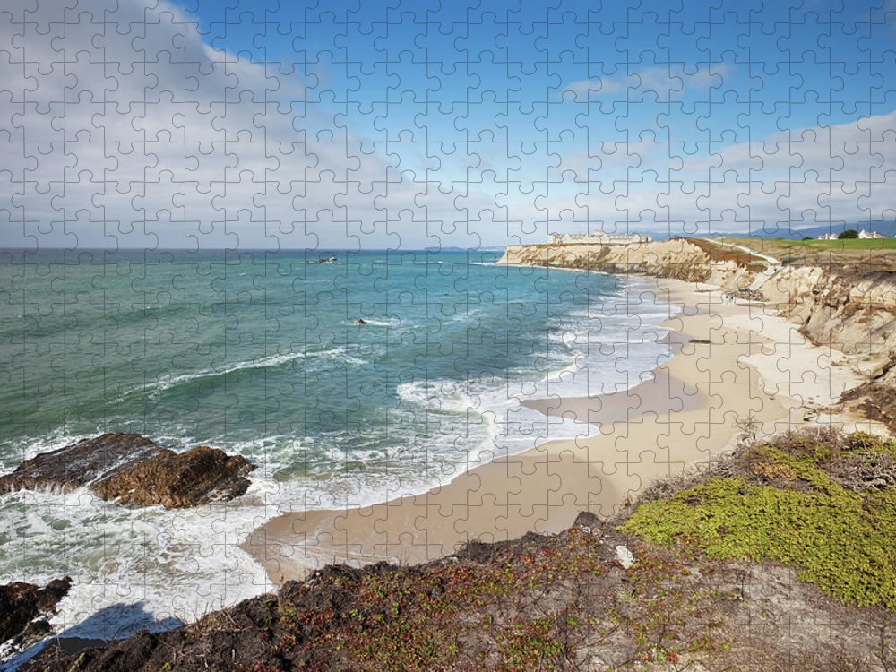 Water's Edge Puzzle featuring the photograph Half Moon Bay California by Stevegeer