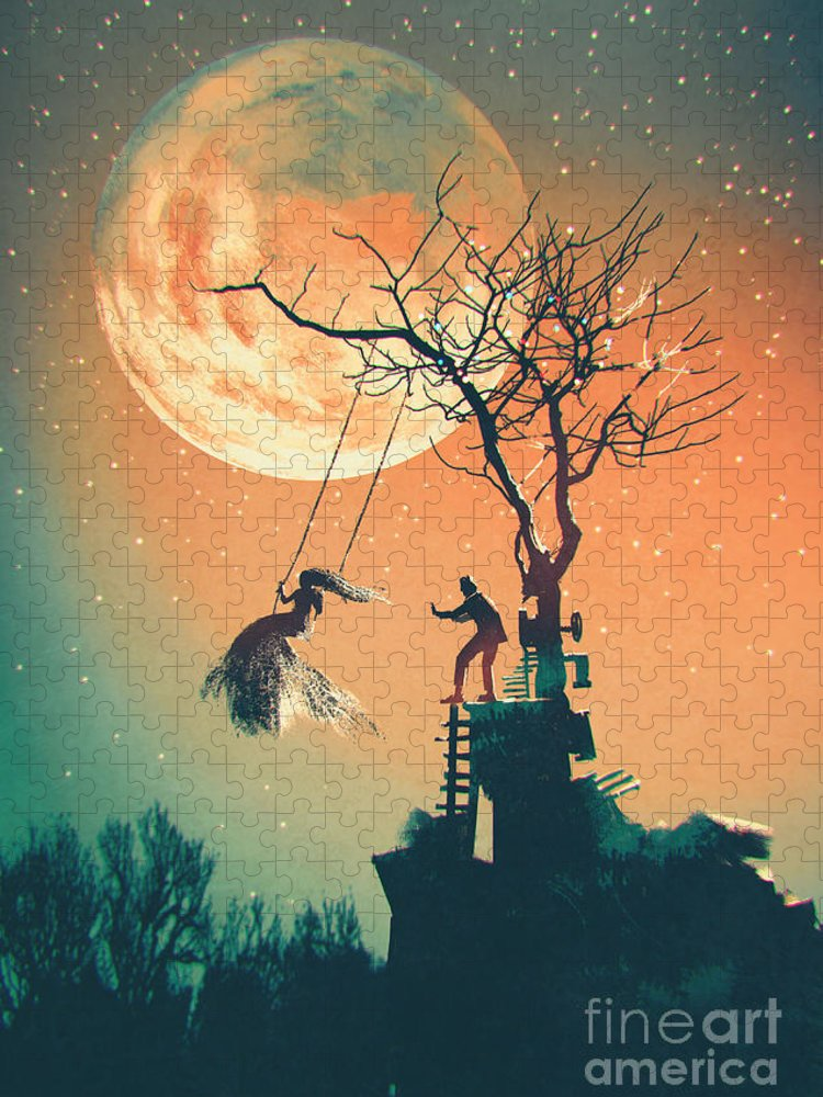 Beauty Puzzle featuring the digital art Halloween Night Background With Man by Tithi Luadthong