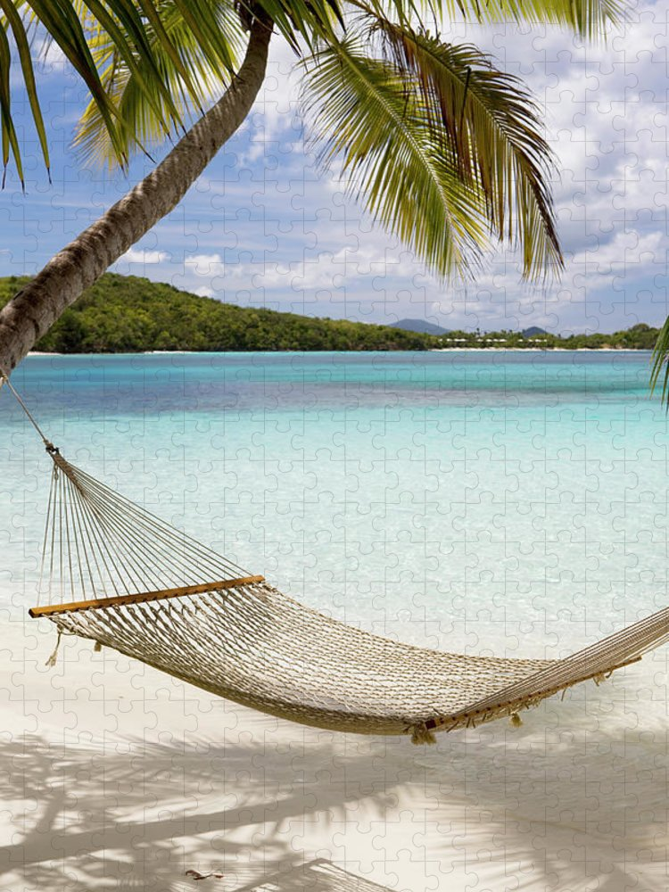 Water's Edge Puzzle featuring the photograph Hammock Hung On Palm Trees On A by Cdwheatley