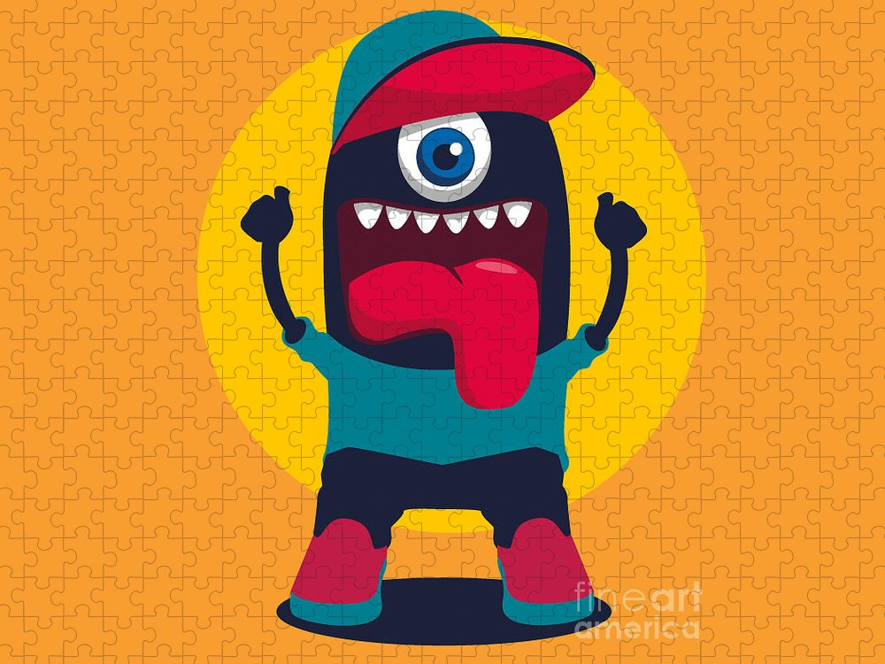 Symbol Puzzle featuring the digital art Happy Monster by Braingraph
