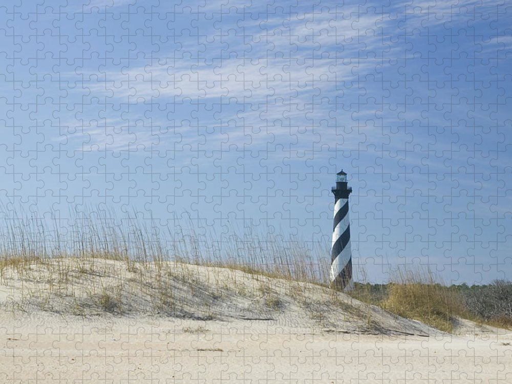 North Carolina Puzzle featuring the photograph Hatteras Lighthouse And The Dunes by Myhrcat