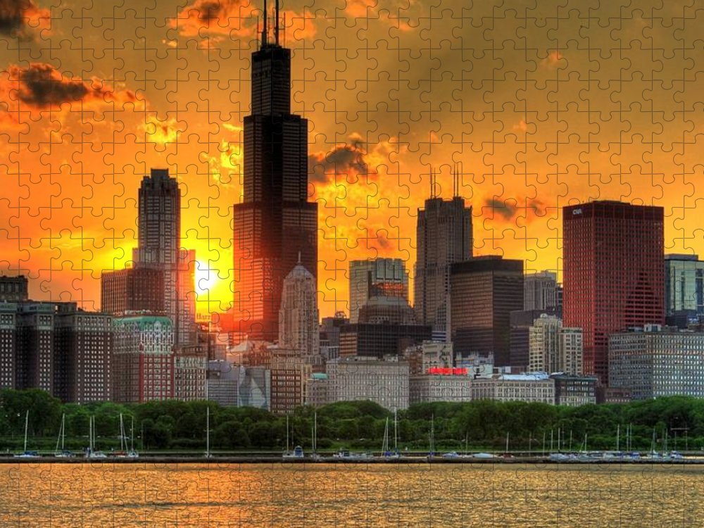 Tranquility Puzzle featuring the photograph Hdr Chicago Skyline Sunset by Jeffrey Barry