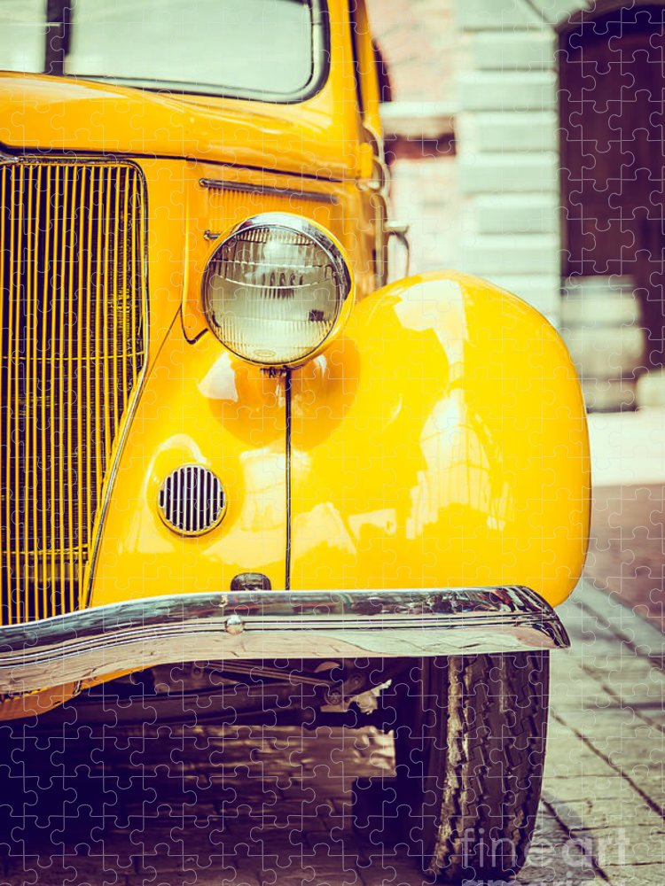 Auto Puzzle featuring the photograph Headlight Lamp Vintage Car - Vintage by Food Travel Stockforlife