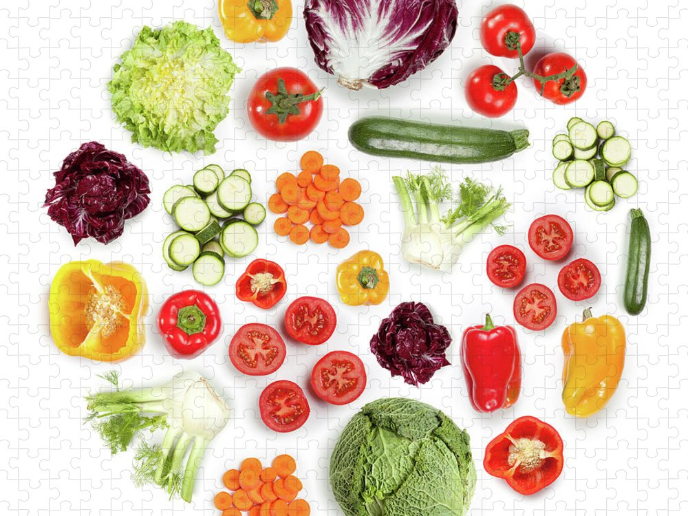 White Background Puzzle featuring the photograph Healthy Fruits And Vegetables In Round by Maxiphoto