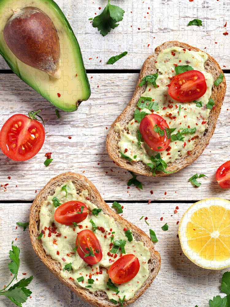 Breakfast Puzzle featuring the photograph Healthy Whole Grain Bread With Avocado by Barcin