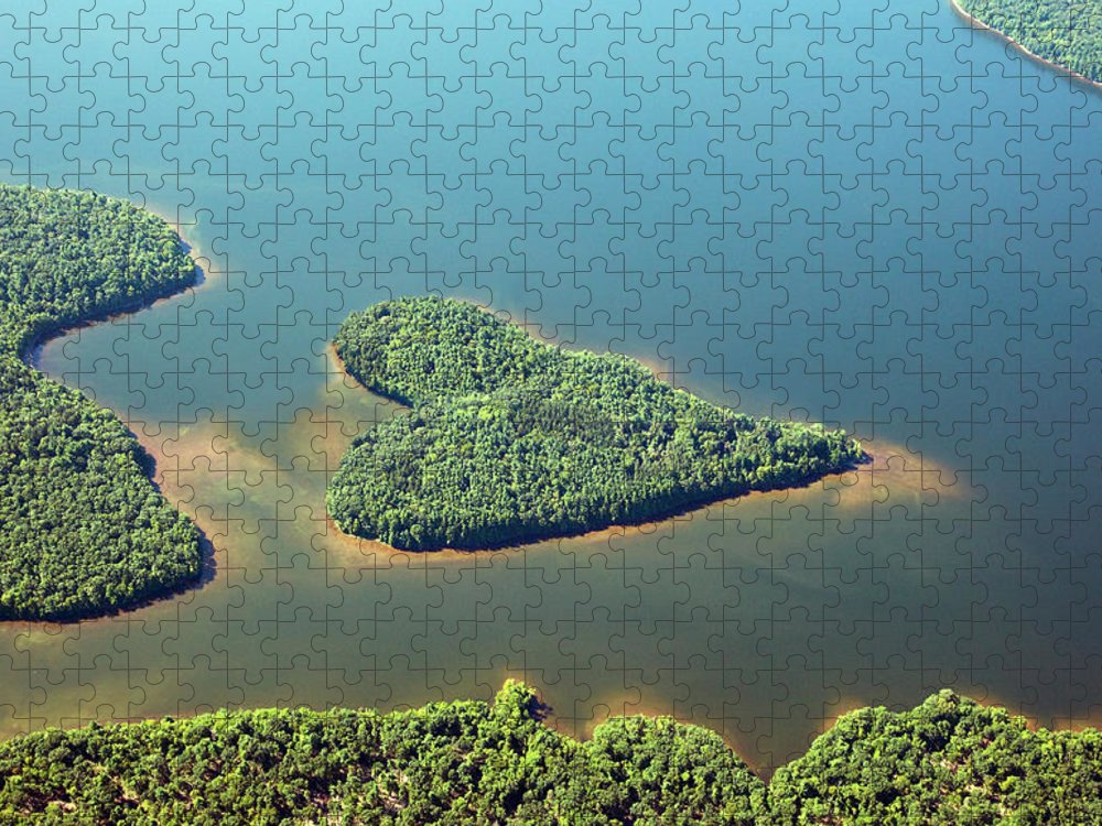 Outdoors Puzzle featuring the photograph Heart-shaped Island In Lake by Thomas Jackson