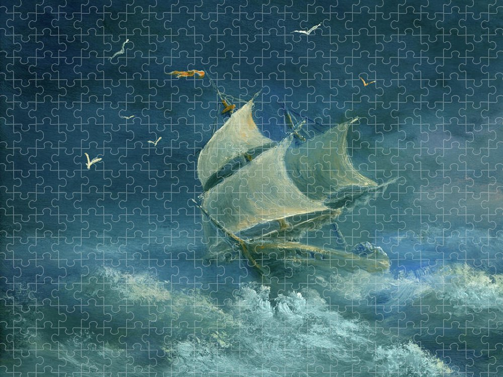 Image Puzzle featuring the digital art Heavy Gale by Pobytov