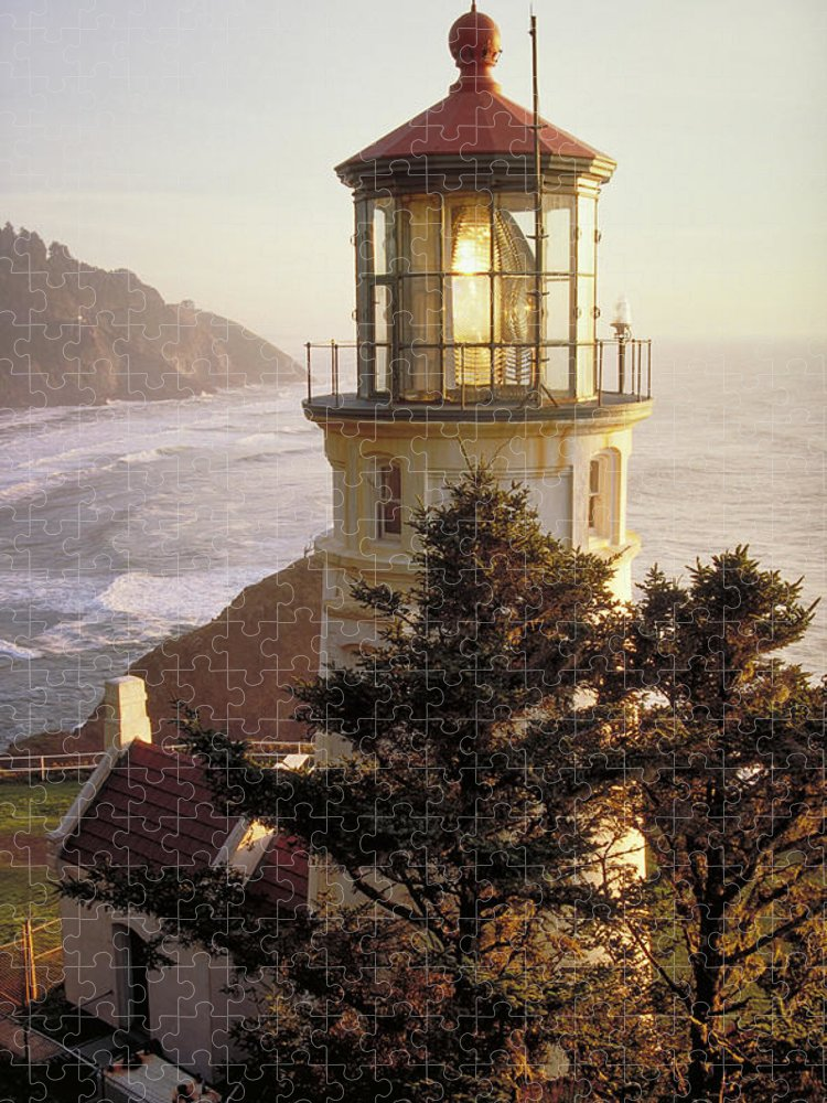 Scenics Puzzle featuring the photograph Heceta Head Lighthouse by Wbritten