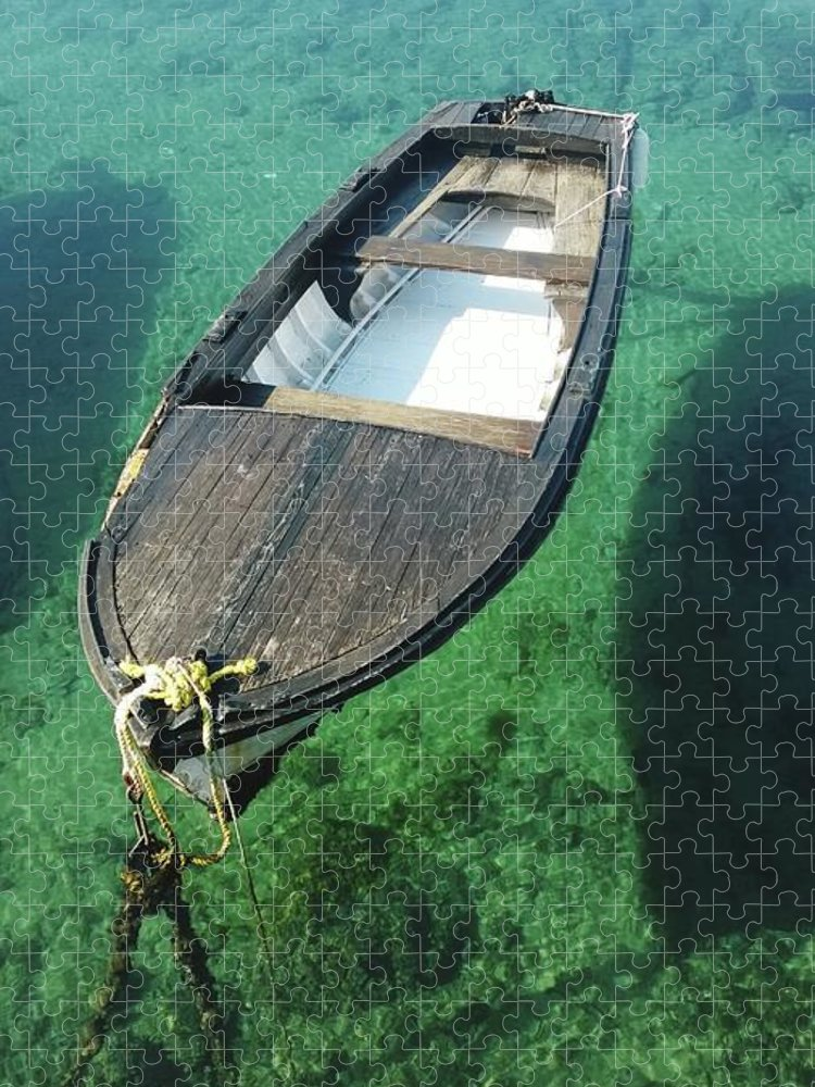 Tranquility Puzzle featuring the photograph High Angle View Of Boat Moored On Sea by Iva Saric / Eyeem