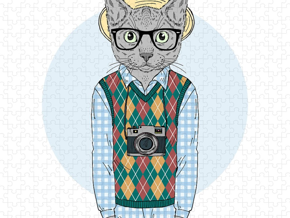 Hipster Cat Boy With Photo Camera Puzzle For Sale By Olga Angelloz