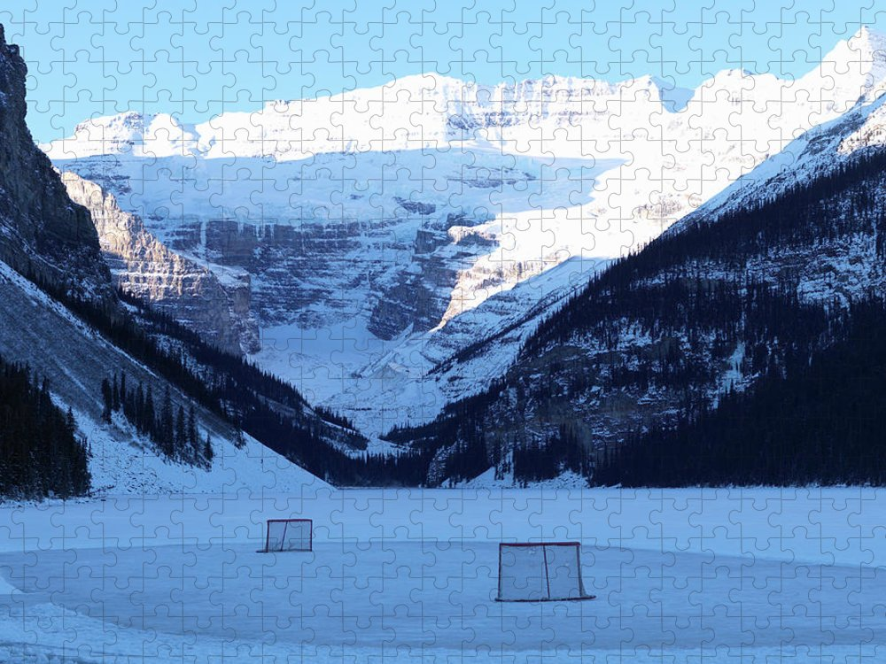 Scenics Puzzle featuring the photograph Hockey Net On Frozen Lake by Ascent/pks Media Inc.