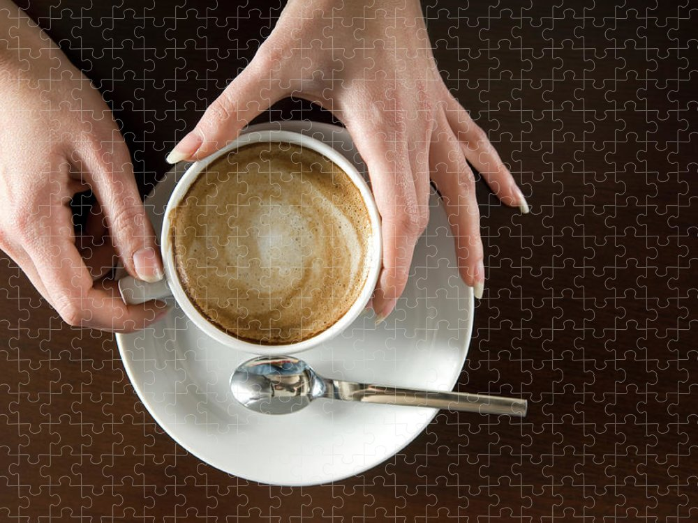 Spoon Puzzle featuring the photograph Holding Cappuccino by 1001nights
