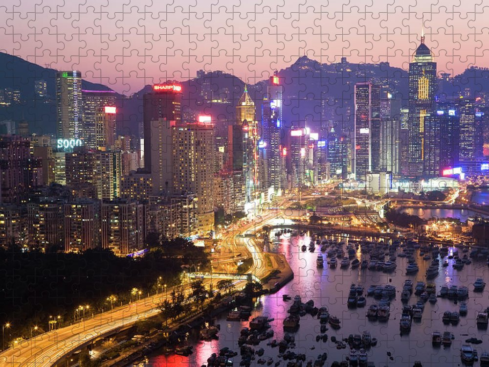 Downtown District Puzzle featuring the photograph Hong Kong Harbour by Peter Adams