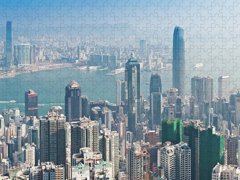 New Territories Puzzle featuring the photograph Hong Kong Iconic Skyscraper City by Fotovoyager
