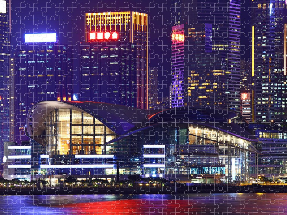 Corporate Business Puzzle featuring the photograph Hong Kong Island At Night by Ngkaki