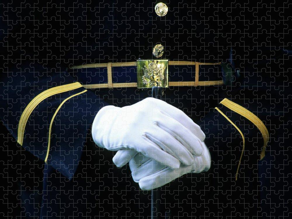 Rifle Puzzle featuring the photograph Honor Guard Holding Rifle, Arlington by Hisham Ibrahim