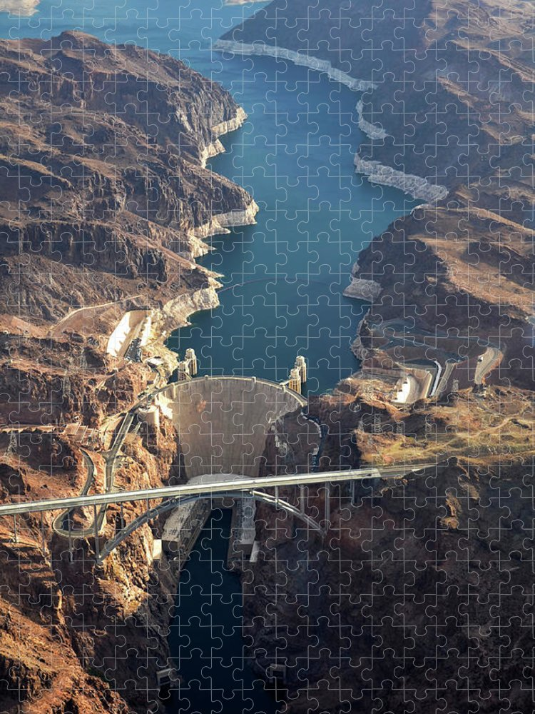 Scenics Puzzle featuring the photograph Hoover Dam Aerial by Iwcrabbe