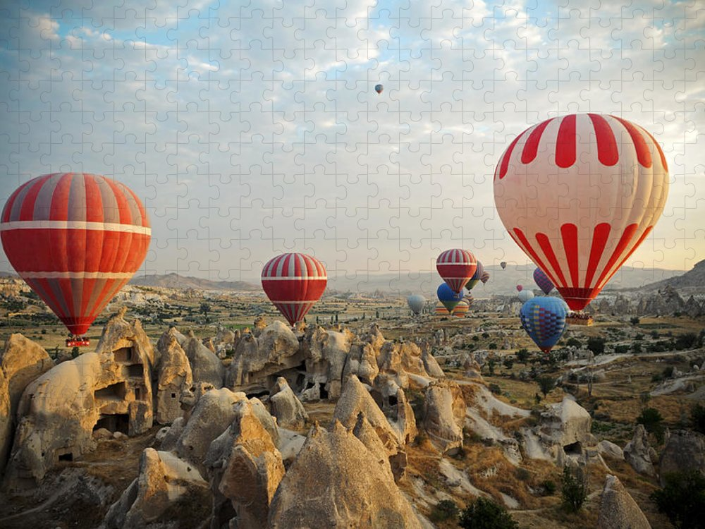 Scenics Puzzle featuring the photograph Hot Air Ballons Of Cappadocia by 1001nights