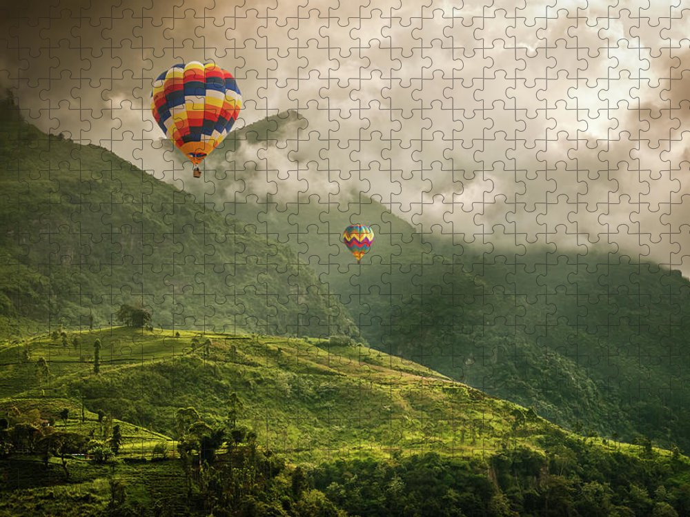 Tranquility Puzzle featuring the photograph Hot Air Balloons Over Tea Plantations by Nicolo Sertorio