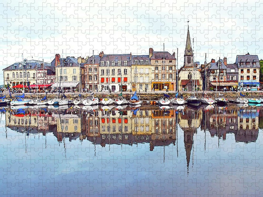 Tranquility Puzzle featuring the photograph Houses Reflection In River, Honfleur by Ana Souza