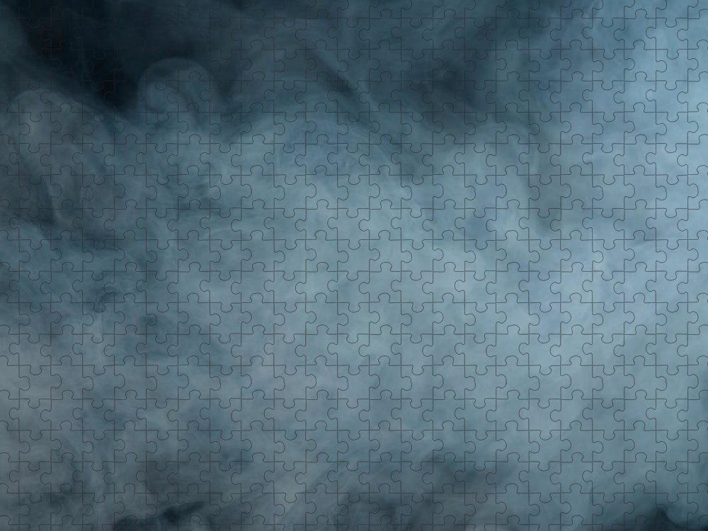 Air Pollution Puzzle featuring the photograph Huge White Cloud Of Smoke In A Dark Room by Lastsax