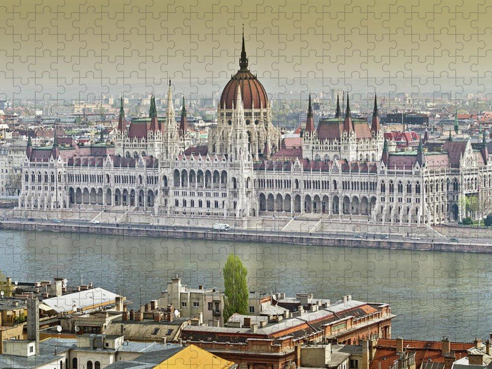 Hungarian Parliament Building Puzzle featuring the photograph Hungarian Parliament Building by (c) Thanachai Wachiraworakam