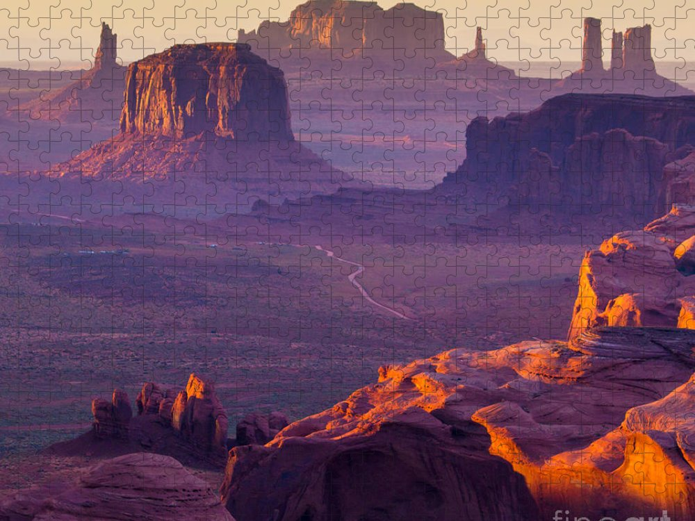 Southwest Puzzle featuring the photograph Hunts Mesa Monument Valley - American by Ronnybas Frimages