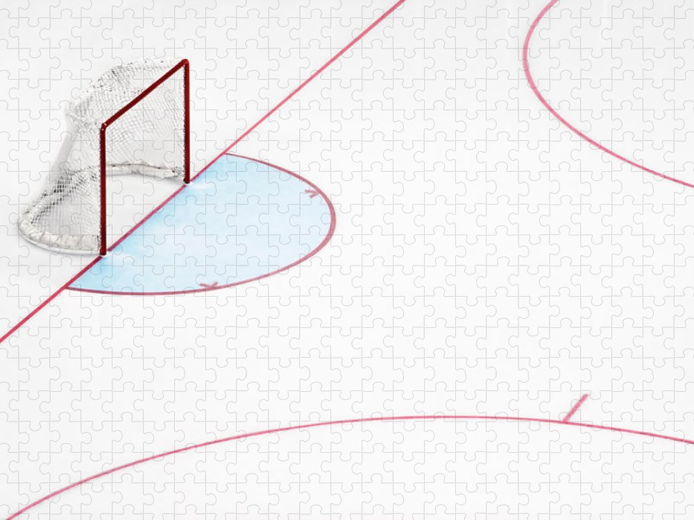 Sport Puzzle featuring the photograph Ice Hockey Goal Net And Empty Rink by David Madison