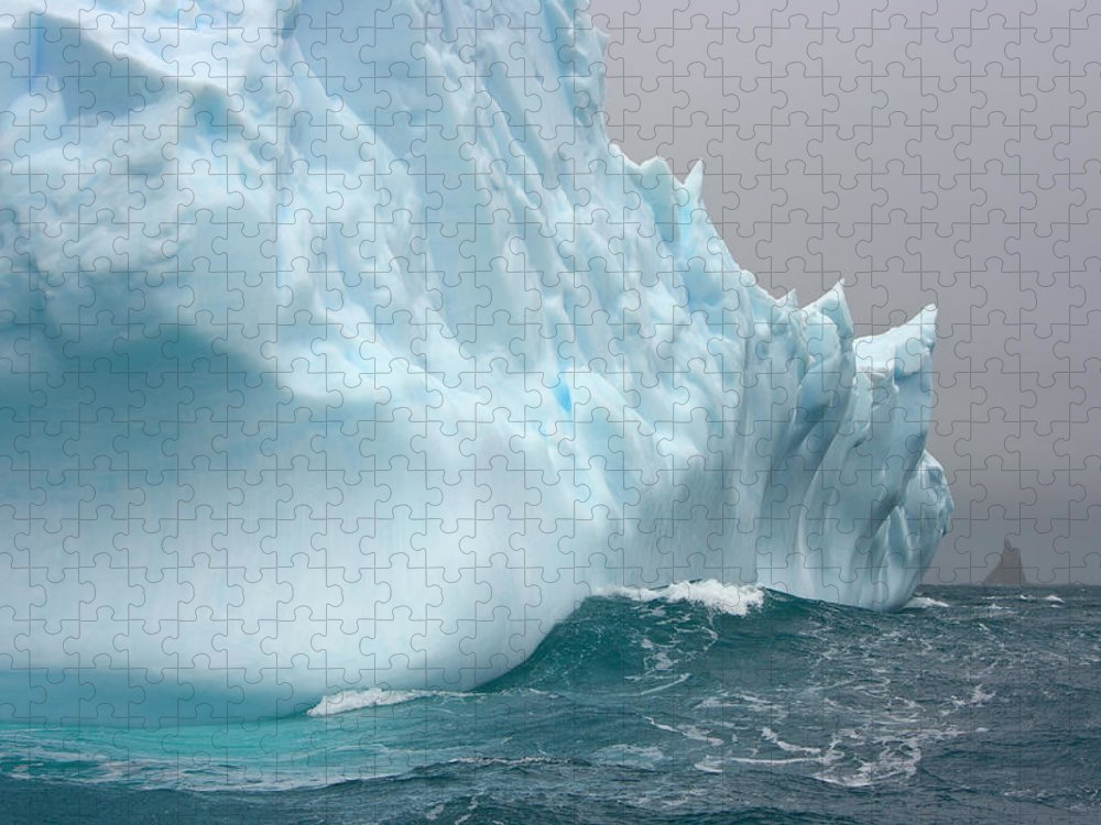Scenics Puzzle featuring the photograph Iceberg And Sea Waves, South Georgia by Eastcott Momatiuk