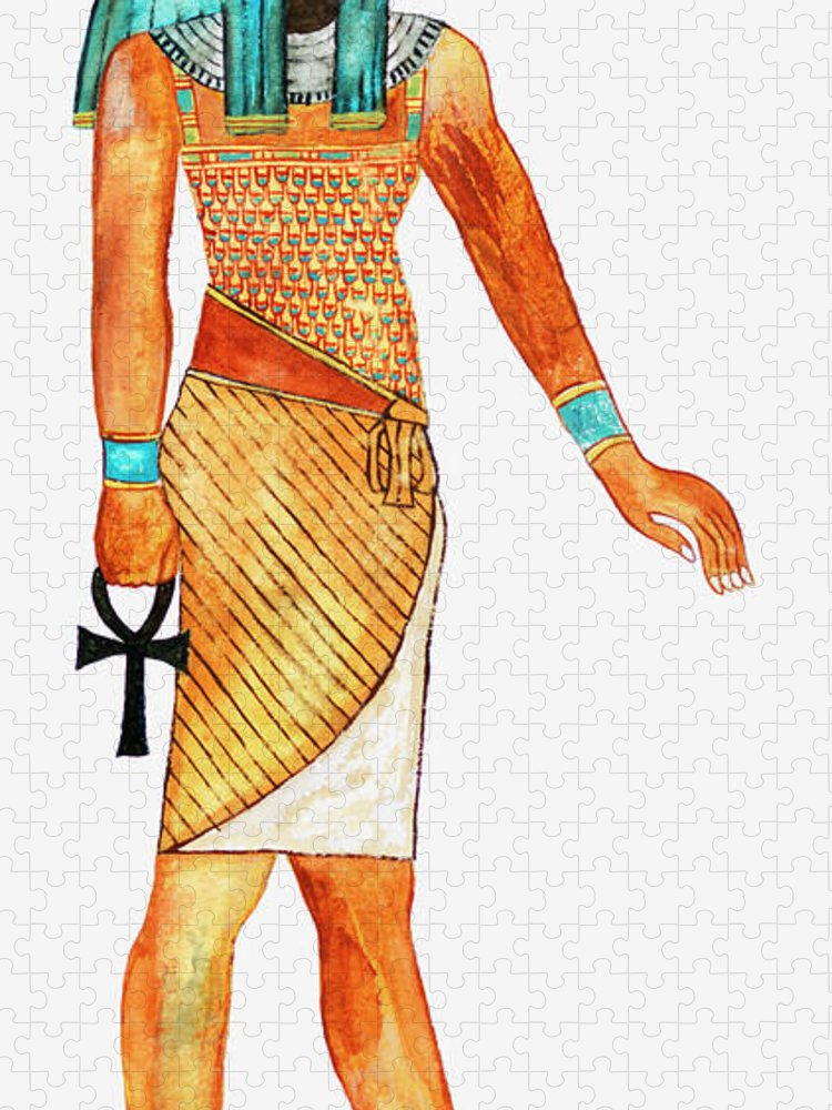 Watercolor Painting Puzzle featuring the digital art Illustration Of Ancient Egyptian God Of by Dorling Kindersley