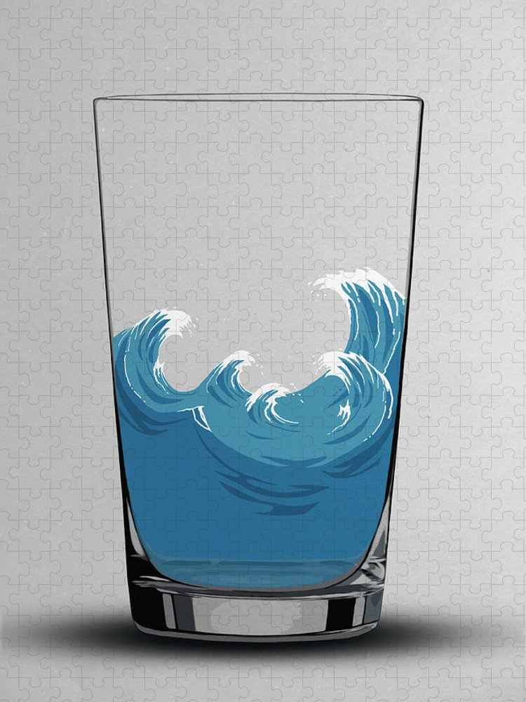 Concepts & Topics Puzzle featuring the digital art Illustration Of Choppy Waves In A Water by Malte Mueller