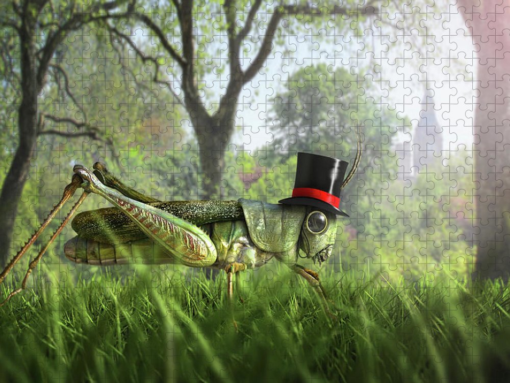 Grass Puzzle featuring the digital art Illustration Of Cricket Wearing Monocle by Chris Clor