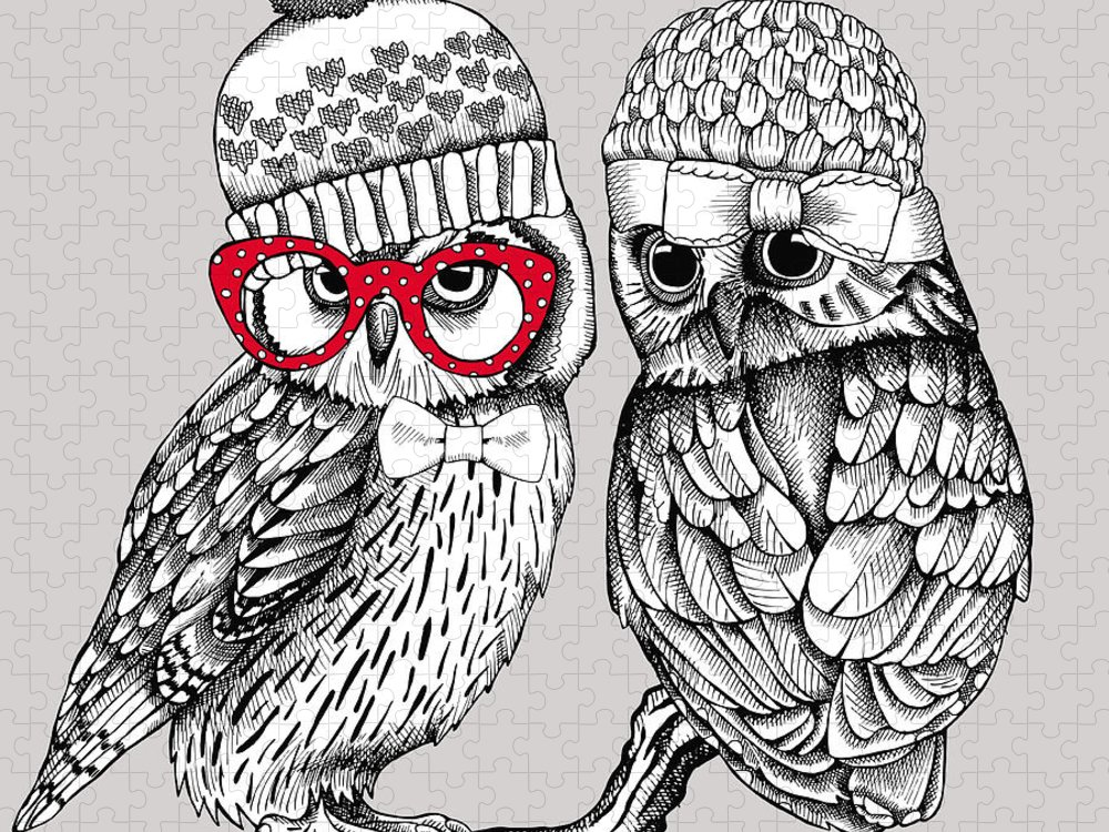 Bride Puzzle featuring the digital art Image Of Two Owls In Knitted Hats by Afishka