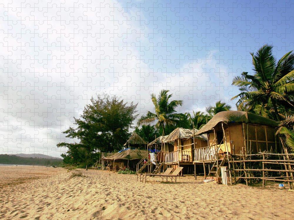 Scenics Puzzle featuring the photograph India, Goa, Beach Huts On Agonda Beach by Sydney James