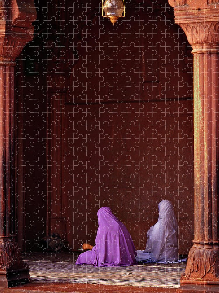 Hanging Puzzle featuring the photograph India - Jama Masjid Mosque by Sergio Pessolano