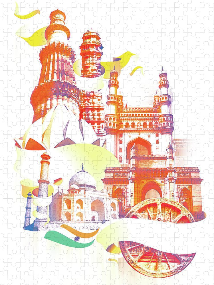 Architectural Feature Puzzle featuring the digital art Indian Monuments Collage by Anand Purohit