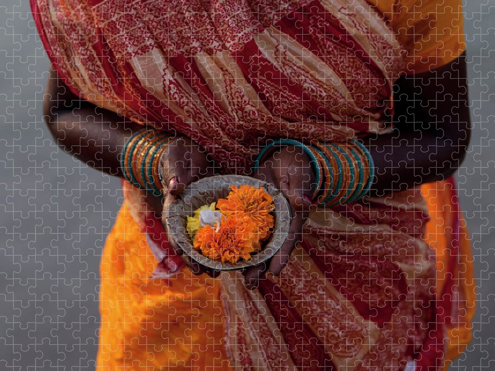Hinduism Puzzle featuring the photograph Indian Woman Offering Puja For The by Selimaksan