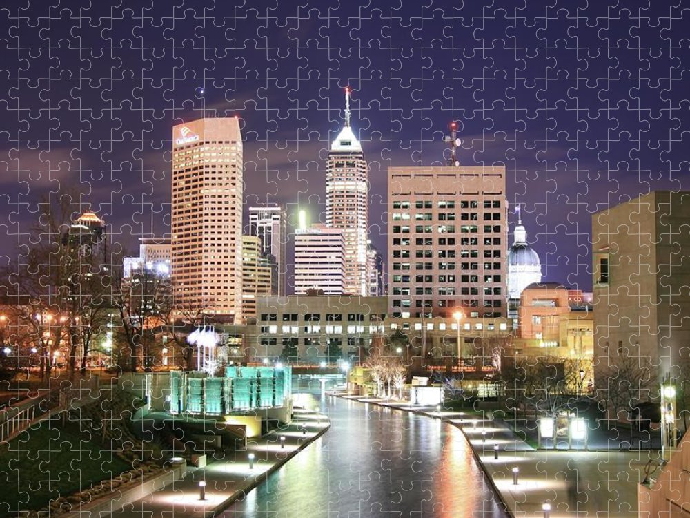 Outdoors Puzzle featuring the photograph Indianapolis, Indiana Skyline At Night by Thomas Damgaard Sabo, Damgaard Photography