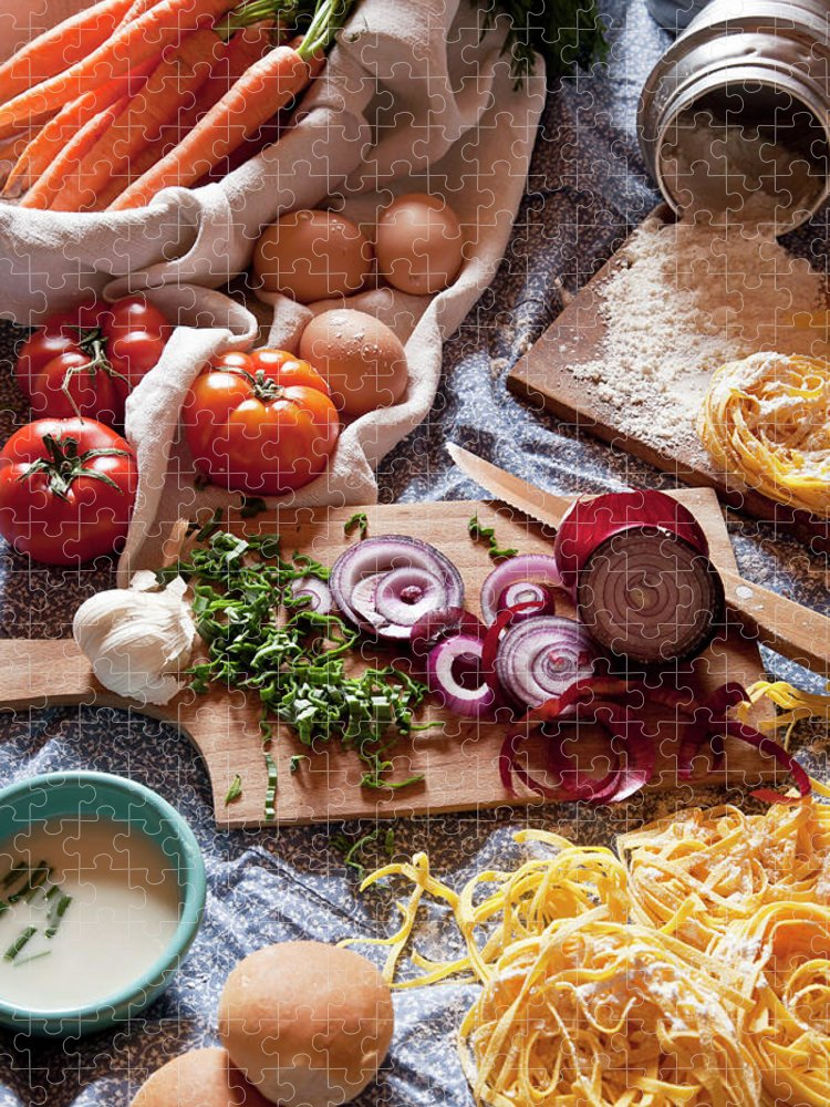 Cheese Puzzle featuring the photograph Ingredients For Italian Pasta And by Buena Vista Images