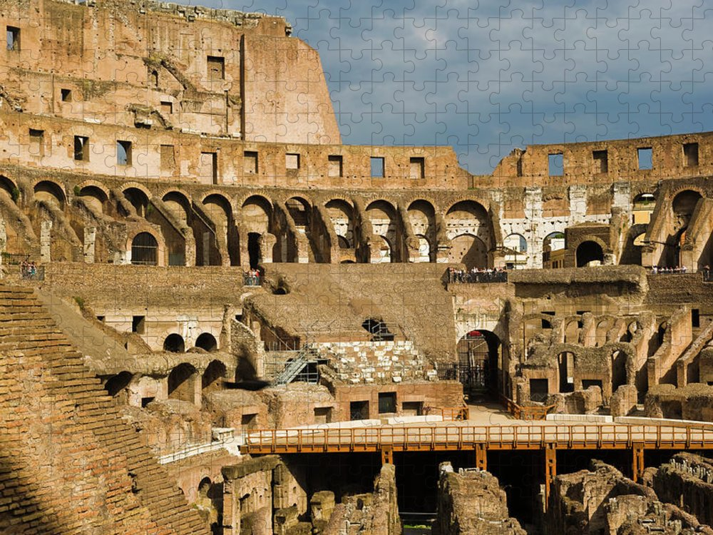 Arch Puzzle featuring the photograph Interior Of The Colosseum, Rome, Italy by Juan Silva