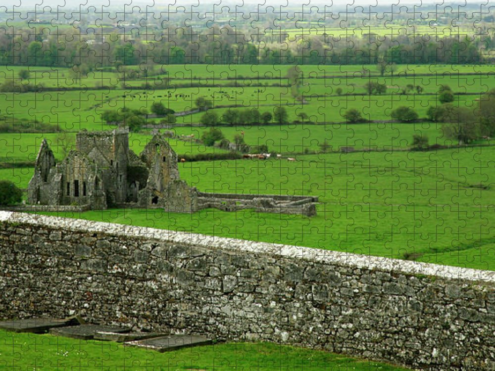 Scenics Puzzle featuring the photograph Ireland Country Scape With Castle Ruins by Njgphoto