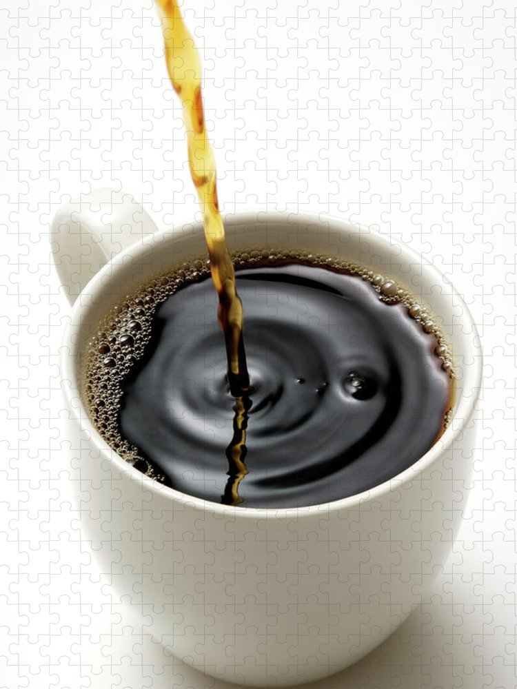 Breakfast Puzzle featuring the photograph Isolated Shot Of Pouring A Fresh Coffee by Kyoshino