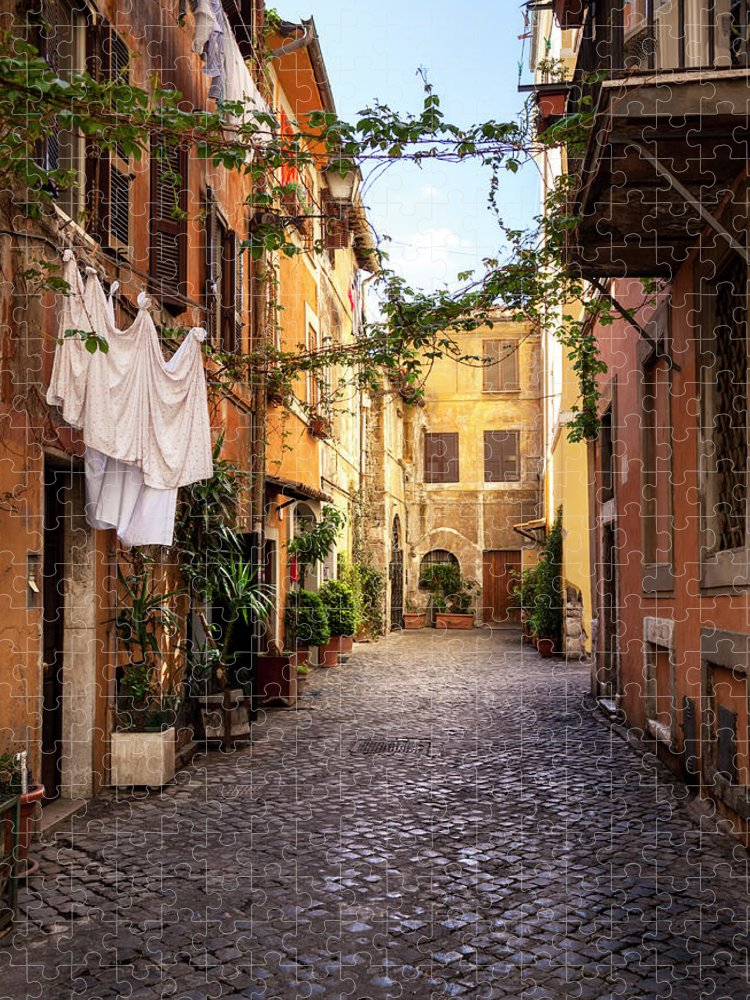Roman Puzzle featuring the photograph Italian Old Town Trastevere In Rome by Spooh