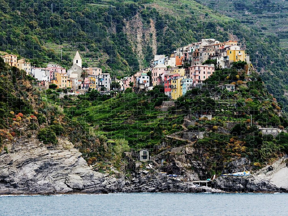 Town Puzzle featuring the photograph Italy, Liguria, Corniglia, View From by Jeremy Woodhouse