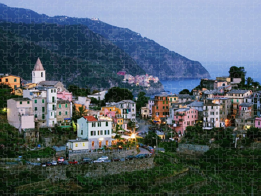 Outdoors Puzzle featuring the photograph Italy, Liguria, Corniglia With Manarola by Jeremy Woodhouse