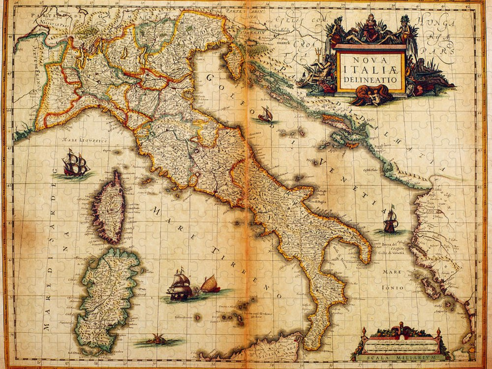 Engraving Puzzle featuring the digital art Italy Map 1635 by Nicoolay