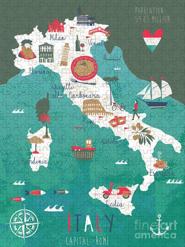 Symbol Puzzle featuring the digital art Italy Map Print Design by Lavandaart