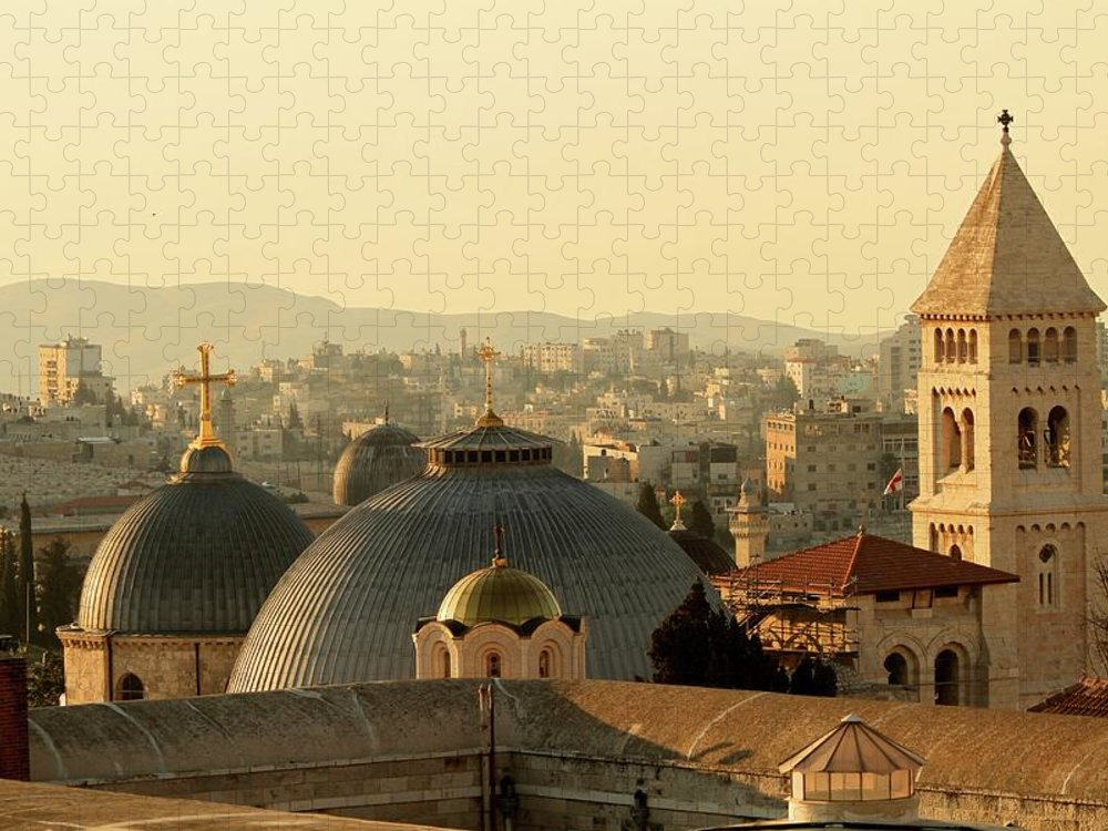 West Bank Puzzle featuring the photograph Jerusalem Churches On The Skyline by Picturejohn